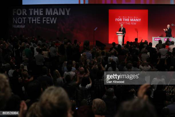 Labour Leader Jeremy Corbyn applauds as Shadow Chancellor John McDonnell delivers his keynote speech in the main hall during day two of the Labour...