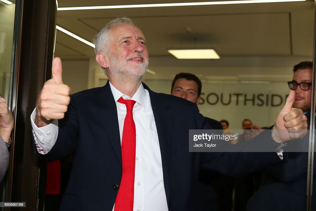 Labour Leader Jeremy Corbyn arrives at Labour Headquarters on June 9, 2017 in London, England. After a snap election was called by Prime Minister Theresa May the United Kingdom went to the polls yesterday. The closely fought election has failed to return a clear overall majority winner and a hung parliament has been declared.