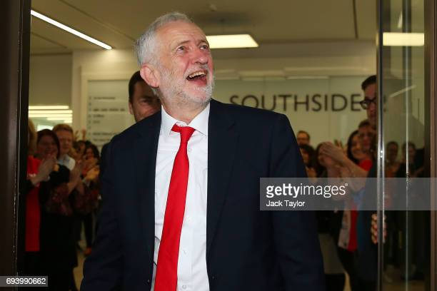 Labour Leader Jeremy Corbyn arrives at Labour Headquarters on June 9 2017 in London England After a snap election was called by Prime Minister...