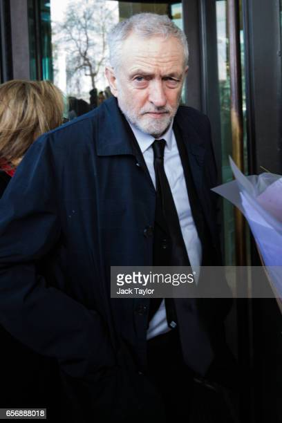 Labour leader Jeremy Corbyn arrives at Portcullis House after laying floral tributes on Westminster Bridge following yesterday's attack in which one...