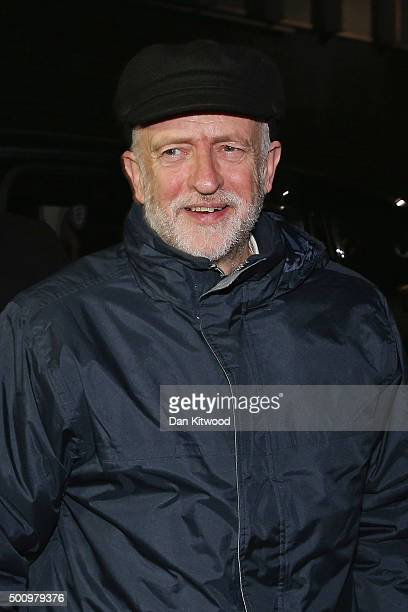 Labour leader Jeremy Corbyn arrives at the EV Restaurant to attend the 'Stop the War' coalition's Christmas party on December 11 2015 in London...
