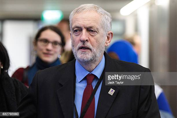 Labour Leader Jeremy Corbyn arrives for a National Holocaust Memorial Day event at the Queen Elizabeth II Conference Centre on January 26 2017 in...