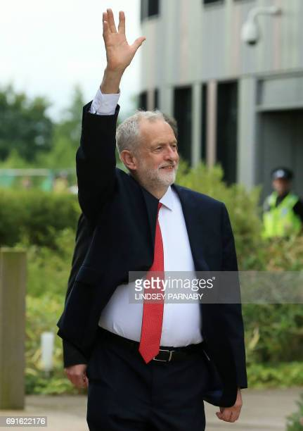 Labour leader Jeremy Corbyn arrives for the BBC One Question Time Leaders Special to be moderated by David Dimbleby and broadcast live from the...