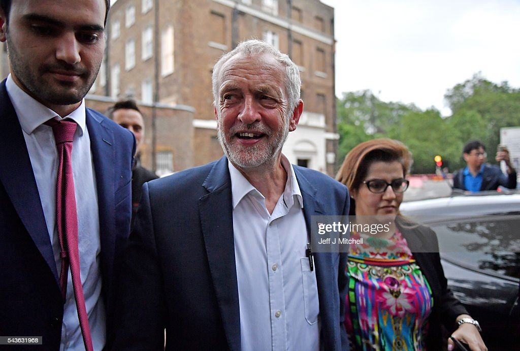 Labour leader <a gi-track='captionPersonalityLinkClicked' href=/galleries/search?phrase=Jeremy+Corbyn&family=editorial&specificpeople=2596361 ng-click='$event.stopPropagation()'>Jeremy Corbyn</a> arrives to speak at a 'Keep Corbyn' rally at the School of Oriental and African Studies on June 29, 2016 in London, England. Mr Corbyn has suffered a wave of resignations from his shadow cabinet and shadow ministerial team, as well as calls for his resignation from across the Labour party.
