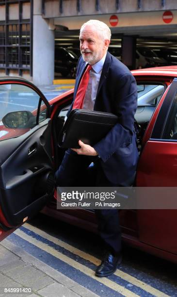 Labour leader Jeremy Corbyn arrives to speak at the TUC conference at the Brighton Centre in Brighton