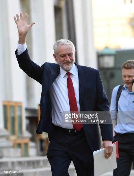 Labour leader Jeremy Corbyn arrives to take part in the BBC Election Debate hosted by BBC news presenter Mishal Husain as it is broadcast live from...