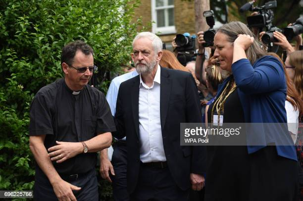 Labour leader Jeremy Corbyn arriving to meet staff and volunteers at St Clement's Church in west London who have provided shelter and support for...