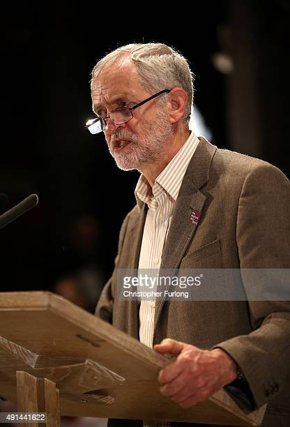 Labour Leader Jeremy Corbyn attends a 'People's Post' rally organised by the Communications Workers Union at Manchester Cathedral on October 5 2015...