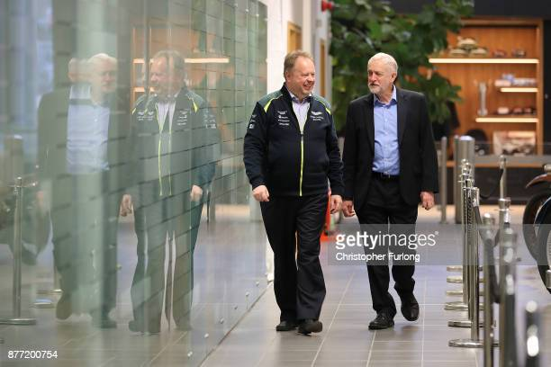 Labour Leader Jeremy Corbyn chats Andy Palmer CEO of Aston Martin during a visit to luxury car maker Aston Martin on November 16 2017 in Warwick...