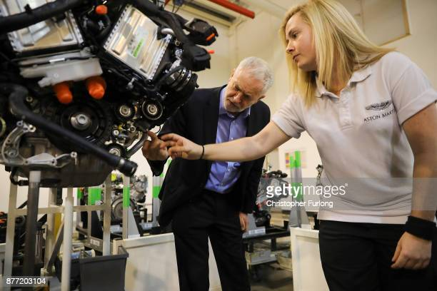 Labour Leader Jeremy Corbyn chats to engine specialist Nicole Angove during a visit to luxury car maker Aston Martin on November 16 2017 in Warwick...