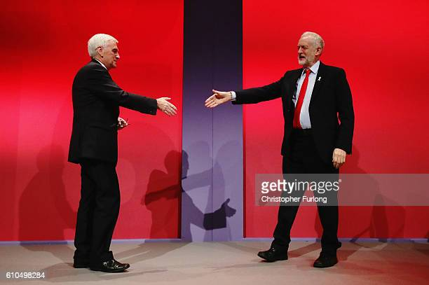 Labour Leader Jeremy Corbyn congratulates Shadow Chancellor John McDonnell after the Shadow Chancellor delivered his keynote speech to the Labour...