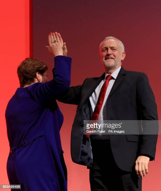 Labour leader Jeremy Corbyn congratulates shadow foreign secretary Emily Thornberry following her speech at the Labour Party conference at the...