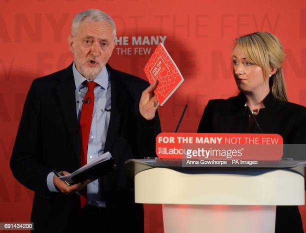 Labour leader Jeremy Corbyn delivers a speech at York Science Park alongside Shadow Business Secretary Rebecca LongBailey on the general election...