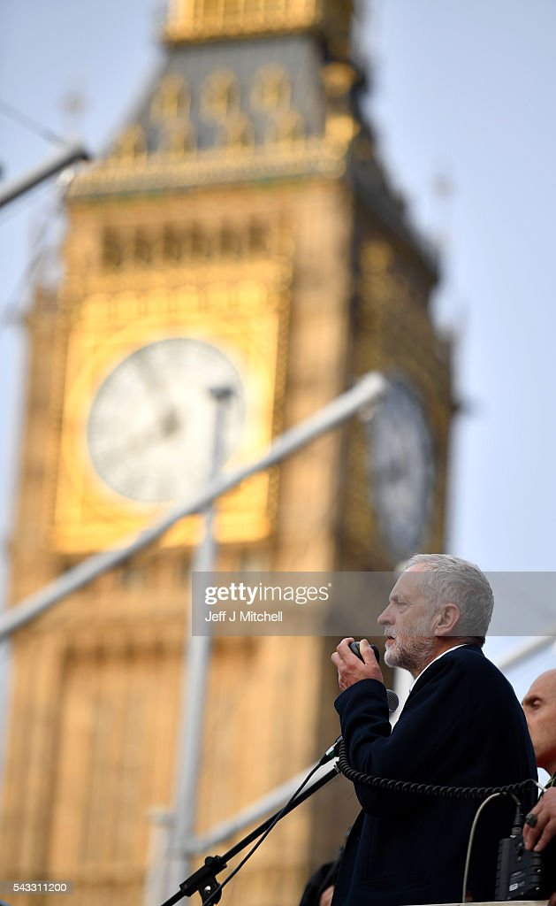 Labour leader <a gi-track='captionPersonalityLinkClicked' href=/galleries/search?phrase=Jeremy+Corbyn&family=editorial&specificpeople=2596361 ng-click='$event.stopPropagation()'>Jeremy Corbyn</a> delivers a speech during Momentum's 'Keep Corbyn' rally outside the Houses of Parliament on June 27, 2016 in London, England. The Labour Leader has seen mass resignations from the Shadow Cabinet in the wake of the UK Vote for Brexit. His support group, Momentum, have recorded more than 1000 new members in the same period.