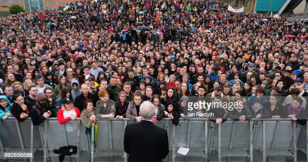 Labour Leader Jeremy Corbyn delivers a speech to crowds numbering in their thousands at a rally next to the Sage building on June 5 2017 in Gateshead...