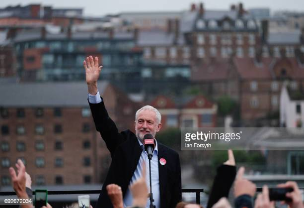 Labour Leader Jeremy Corbyn delivers a speech to thousands of gathered crowds at a rally next to the Sage building on June 5 2017 in Gateshead United...