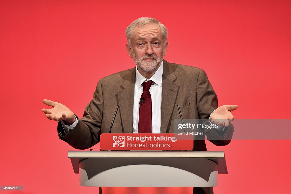 Labour leader Jeremy Corbyn delivers his first speech as leader of the party on September 29, 2015 in Brighton, England. The four day annual Labour Party Conference takes place in Brighton and is expected to attract thousands of delegates with keynote speeches from influential politicians and over 500 fringe events.