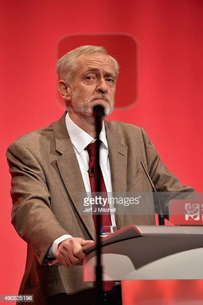 Labour leader Jeremy Corbyn delivers his first speech as leader of the party on September 29 2015 in Brighton England The four day annual Labour...
