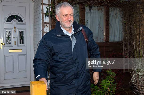 Labour Leader Jeremy Corbyn departs his North London home on January 05 2016 in London England The Labour Leader is expected to release information...
