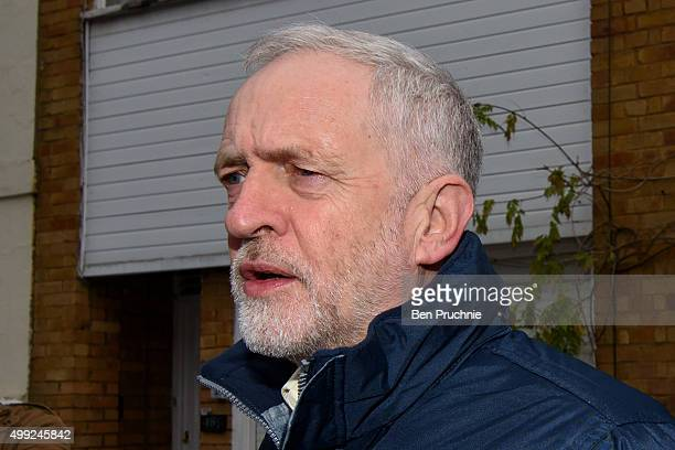 Labour Leader Jeremy Corbyn departs his North London home on November 30 2015 in London England Today the Labour leader will meet the shadow cabinet...