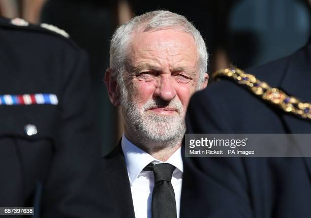 Labour leader Jeremy Corbyn during a vigil in Albert Square Manchester after a 23yearold man was arrested in connection with the Manchester concert...