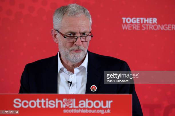Labour leader Jeremy Corbyn gives a General Election speech at the Carnegie Conference Centre on April 24 2017 in Dunfermline Scotland The UK General...