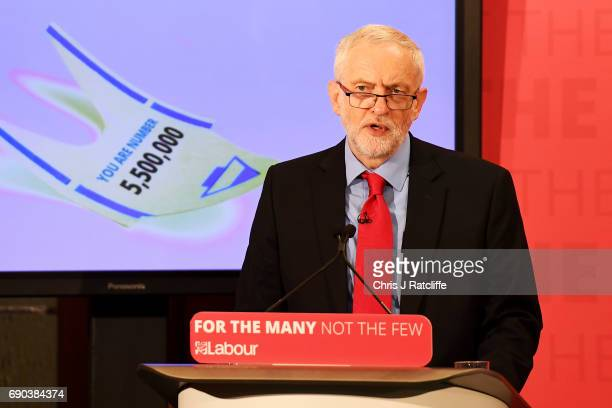 Labour leader Jeremy Corbyn gives a speech at Church House in Westminster on May 31 2017 in London England A new poll suggests Britain could be...