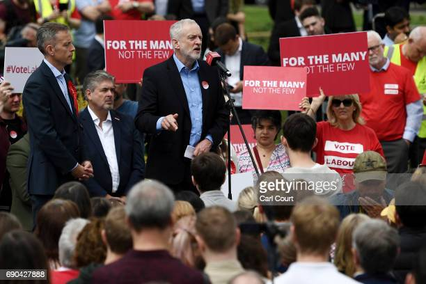 Labour leader Jeremy Corbyn gives a speech at Rivermead Leisure Centre on May 31 2017 in Reading United Kingdom Polling analysis released today shows...