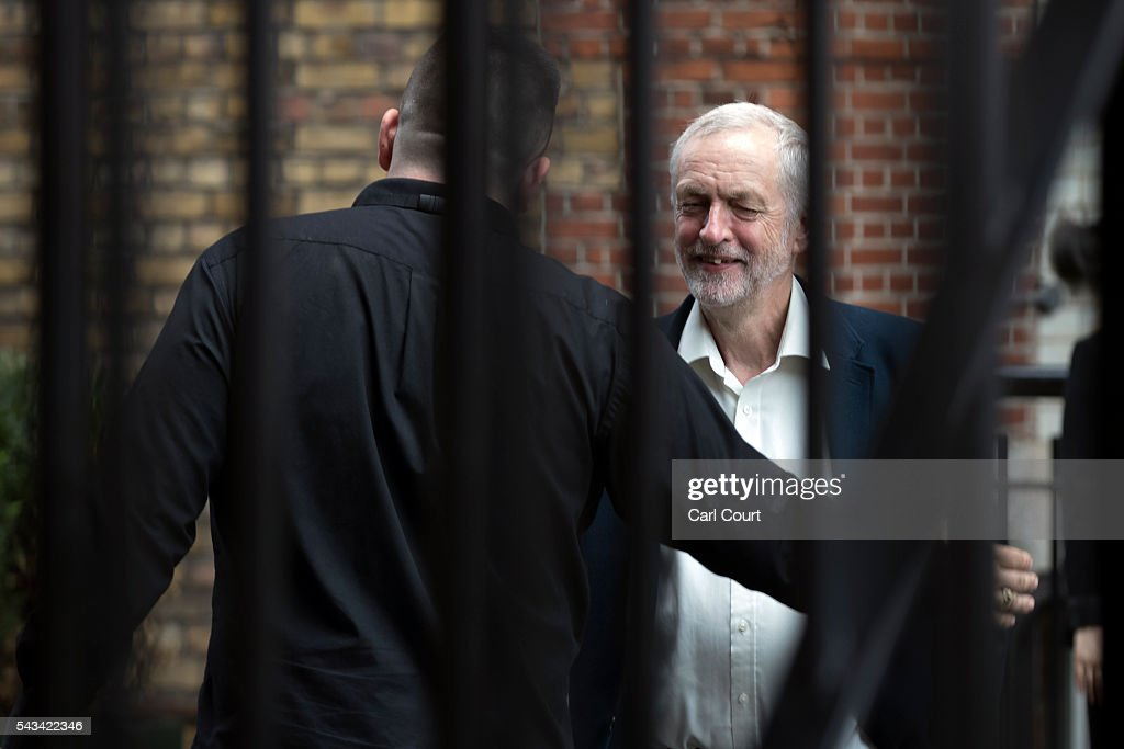 Labour leader <a gi-track='captionPersonalityLinkClicked' href=/galleries/search?phrase=Jeremy+Corbyn&family=editorial&specificpeople=2596361 ng-click='$event.stopPropagation()'>Jeremy Corbyn</a> (R) greets a friend outside his office, where he held a meeting on June 28, 2016 in London, England. Mr Corbyn is faces a crisis within his party after losing a vote of no confidence amongst Labout MPs by 172 votes to 40.