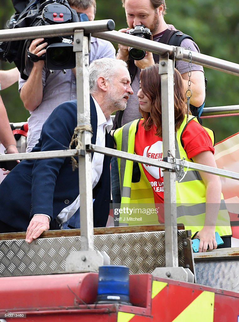 Labour leader <a gi-track='captionPersonalityLinkClicked' href=/galleries/search?phrase=Jeremy+Corbyn&family=editorial&specificpeople=2596361 ng-click='$event.stopPropagation()'>Jeremy Corbyn</a> greets a young woman during Momentum's 'Keep Corbyn' rally outside the Houses of Parliament on June 27, 2016 in London, England. The Labour Leader has seen mass resignations from the Shadow Cabinet in the wake of the UK Vote for Brexit. His support group, Momentum, have recorded more than 1000 new members in the same period.