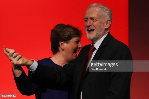 Labour Leader Jeremy Corbyn High Fives Shadow First Secretary of State Emily Thornberry after her key note speach in the main hall during day two of...