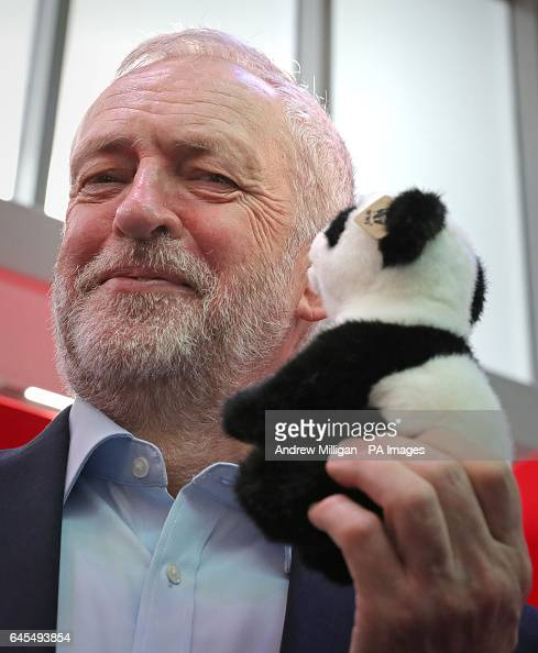 Labour leader Jeremy Corbyn holding a toy panda on the WWF stall on the third day of the Scottish Labour Party Conference at Perth Concert Hall
