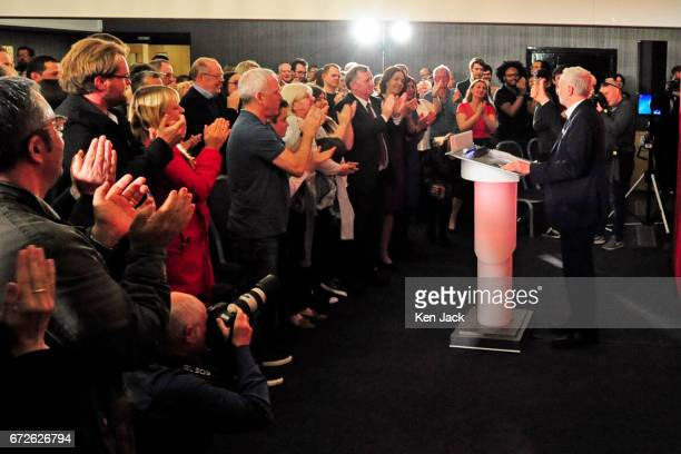 Labour leader Jeremy Corbyn is given a standing ovation after making a general election campaign speech at a Labour Party event on April 24 2017 in...