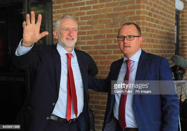 Labour leader Jeremy Corbyn is greeted by Paul Nowak Deputy General Secretary of the TUC as arrives to speak at the TUC conference at the Brighton...
