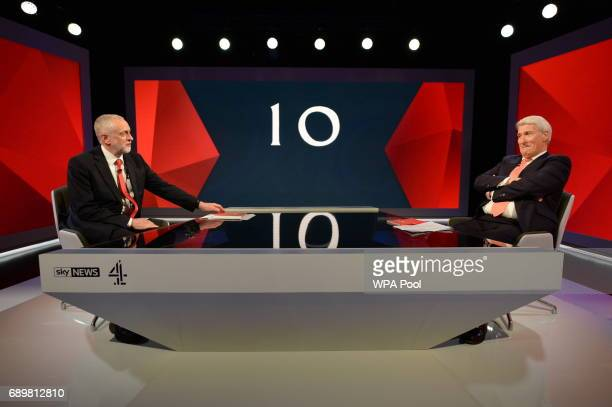 Labour leader Jeremy Corbyn is interviewed by Jeremy Paxman during a joint Channel 4 and Sky News general election programme 'May v Corbyn Live The...