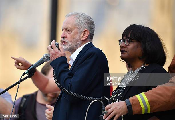 Labour leader Jeremy Corbyn is joined by Shadow Health Secretary Diane Abbott as he delivers a speech during Momentum's 'Keep Corbyn' rally outside...