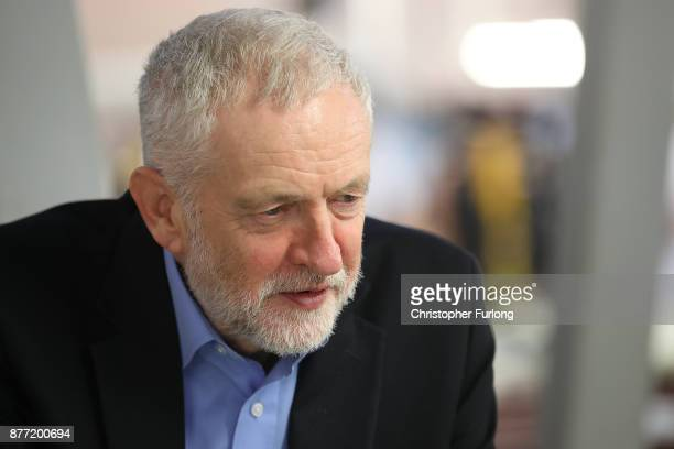 Labour Leader Jeremy Corbyn is seen during a visit to luxury car maker Aston Martin on November 16 2017 in Warwick England Jeremy Corbyn toured the...