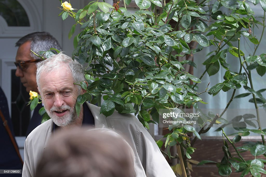 Labour Leader <a gi-track='captionPersonalityLinkClicked' href=/galleries/search?phrase=Jeremy+Corbyn&family=editorial&specificpeople=2596361 ng-click='$event.stopPropagation()'>Jeremy Corbyn</a> leaves his home in North London as resignations from his shadow cabinet continue on June 26, 2016 in London, England. In the wake of shadow foreign secretary Hilary Benn being fired by Corbyn, eight of the Labour shadow cabinet have resigned today.