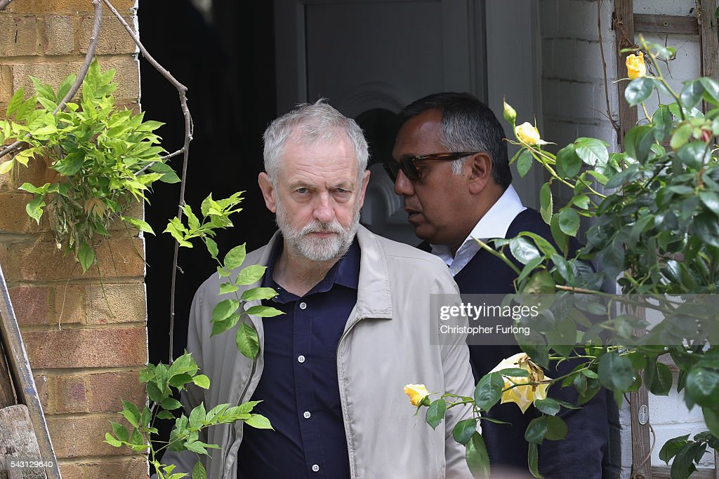 Labour Leader Jeremy Corbyn leaves his home in North London as resignations from his shadow cabinet continue on June 26, 2016 in London, England. In the wake of shadow foreign secretary Hilary Benn being fired by Corbyn, eight of the Labour shadow cabinet have resigned today.