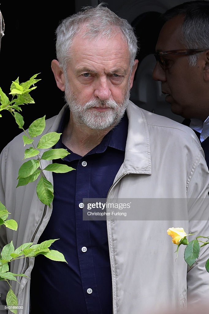 Labour Leader Jeremy Corbyn leaves his home in North London as resignations from his shadow cabinet continue on June 26, 2016 in London, England. In the wake of shadow foreign secretary Hilary Benn being fired by Corbyn, Twelve members of the Labour shadow cabinet have resigned today.