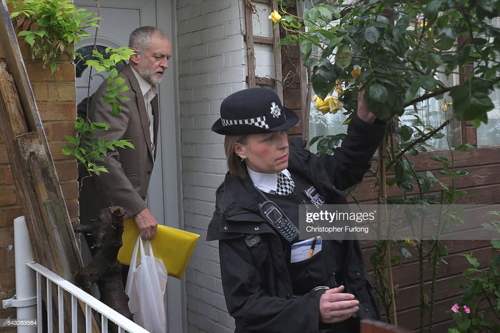 Labour Leader Jeremy Corbyn leaves his home in North London as resignations from his shadow cabinet continue on June 27, 2016 in London, England. In the wake of shadow foreign secretary Hilary Benn being fired at the weekend by Corbyn a string of other shadow cabinet members have resigned.