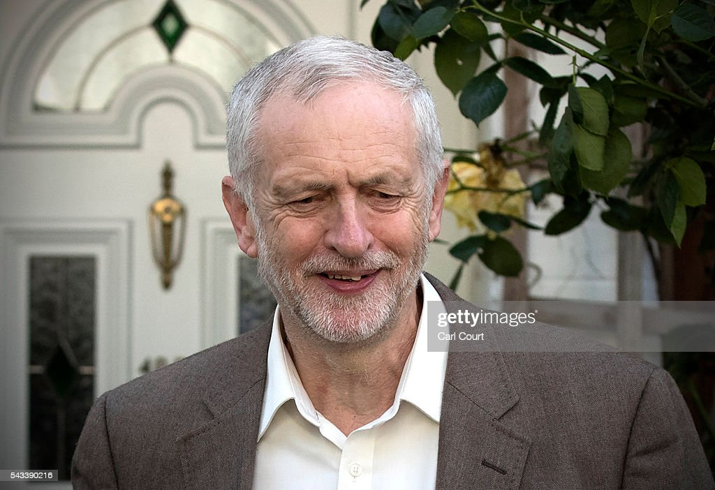 Labour leader <a gi-track='captionPersonalityLinkClicked' href=/galleries/search?phrase=Jeremy+Corbyn&family=editorial&specificpeople=2596361 ng-click='$event.stopPropagation()'>Jeremy Corbyn</a> leaves his home on June 28, 2016 in London, England. Mr Corbyn is facing increased calls to resign as leader and a vote of no confidence later today is expected to see up to 150 MPs vote against him.