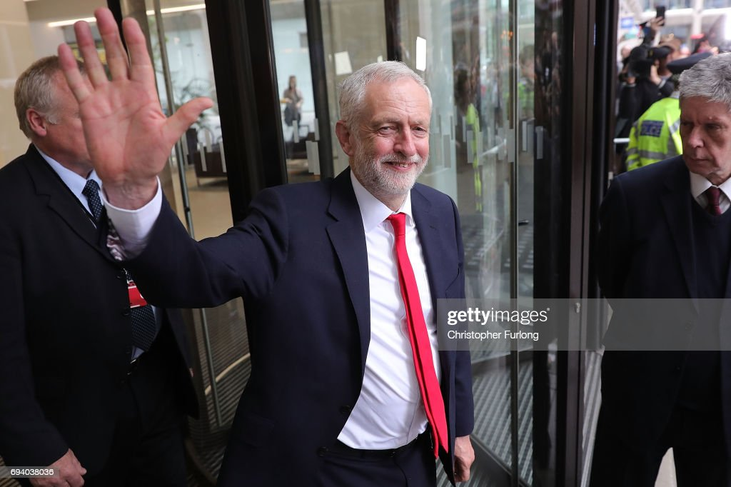 Labour Leader Jeremy Corbyn leaves Labour Headquarters on June 9, 2017 in London, England. After a snap election was called by Prime Minister Theresa May the United Kingdom went to the polls yesterday. The closely fought election has failed to return a clear overall majority winner and a hung parliament has been declared.
