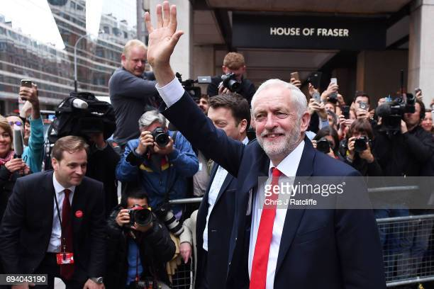 Labour Leader Jeremy Corbyn leaves Labour Headquarters on June 9 2017 in London England After a snap election was called by Prime Minister Theresa...