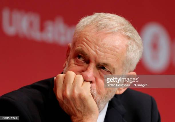 Labour leader Jeremy Corbyn listens to speeches at the Labour Party annual conference at the Brighton Centre Brighton