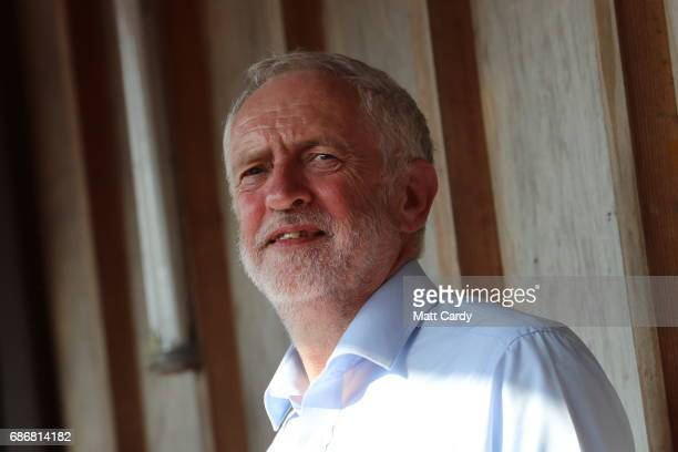 Labour Leader Jeremy Corbyn looks on as John Prescot speaks to supporters outside The Junction Paradise Place as he campaigns for the upcoming...