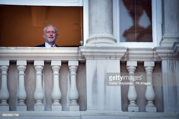 Labour leader Jeremy Corbyn looks out of a window after taking part in the BBC Election Debate hosted by BBC news presenter Mishal Husain at Senate...