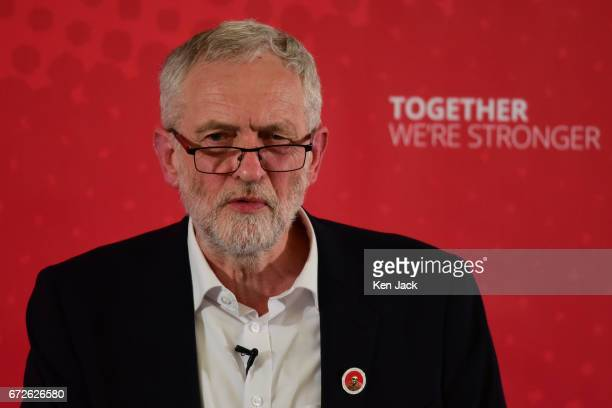 Labour leader Jeremy Corbyn makes a general election campaign speech at a Labour Party event on April 24 2017 in Dunfermline Scotland