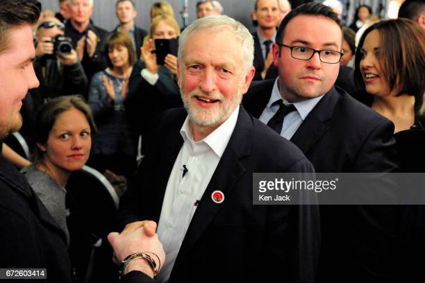 Labour leader Jeremy Corbyn makes his way through the audience as they give him a standing ovation following a general election campaign speech at a...