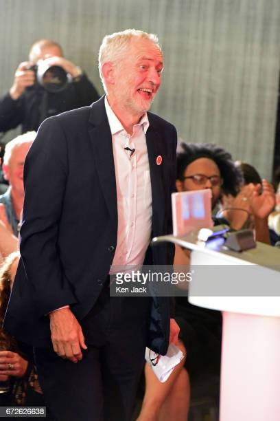 Labour leader Jeremy Corbyn makes his way to the podium to give a general election campaign speech at a Labour Party event on April 24 2017 in...